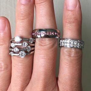 Jewelry - Silver Ring Bundle! Random Sparkly Rhinestone Mix